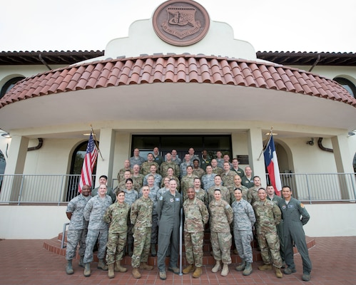 Squadron commanders from across the Air Force pose for a group photo at the Air Force's Personnel Center, Joint Base San Antonio-Randolph March 20. During the four-day squadron commander course, they visited with AFPC leaders and subject matter experts to discuss key issues and processes about AFPC's talent management and care for Airmen and families.
