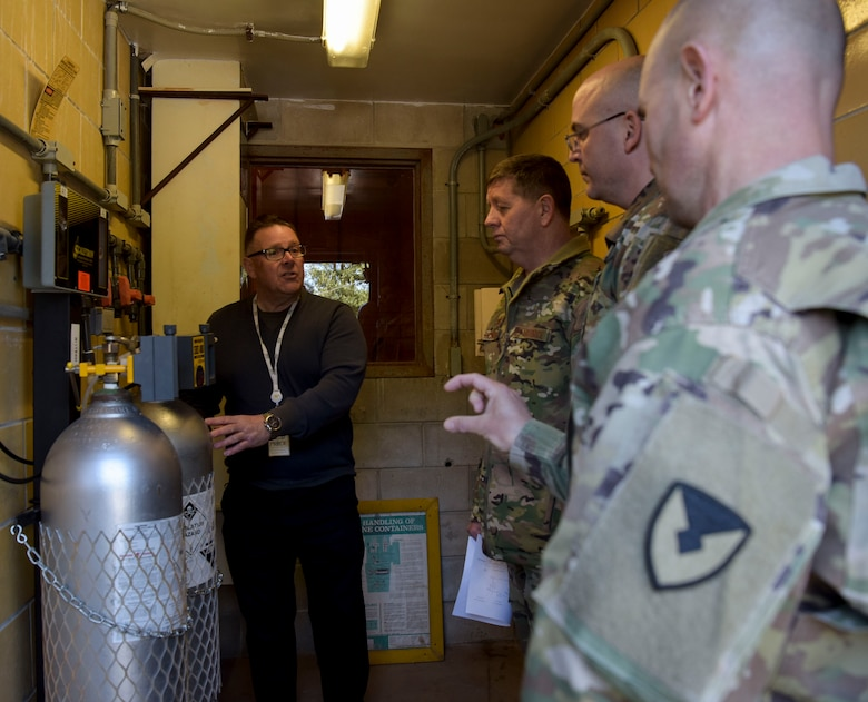 Robert Lauer, Pride Industries Water Treatment Plant assistant manager, explains the disinfection process with chlorine to senior leaders during a Water Production Plant tour, March 26, 2019 at Joint Base McGuire-Dix-Lakehurst, New Jersey. The Dix drinking water production plant can produce up to three million gallons per day. (U.S. Air Force photo by Airman 1st Class Briana Cespedes)
