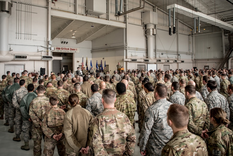 Col. David Mounkes, commander of the 123rd Airlift Wing, speaks to unit members during a ceremony at the Kentucky Air National Guard Base in Louisville, Ky., March 10, 2019. The ceremony, which highlighted the unit's accomplishments over the past year, concluded with the presentation of the wing's 18th Air Force Outstanding Unit Award. (U.S. Air National Guard photo by Staff Sgt. Joshua Horton)