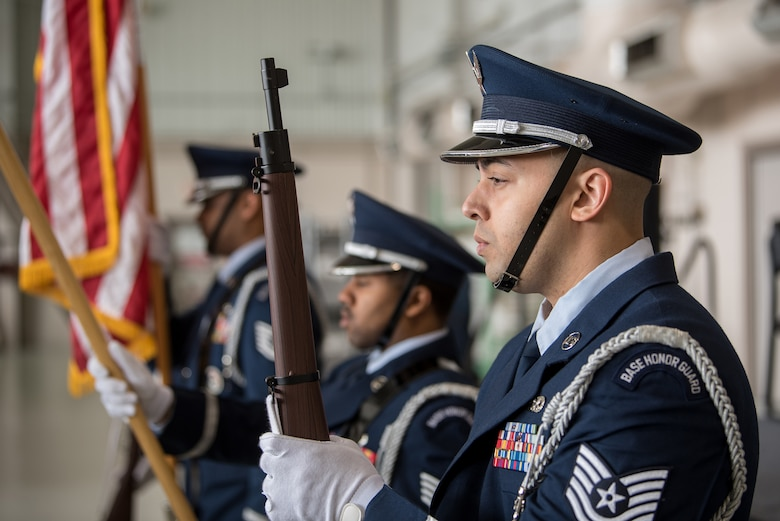 The 123rd Airlift Wing Color Guard presents the colors during a ceremony at the Kentucky Air National Guard Base in Louisville, Ky., March 10, 2019, celebrating the wing's accomplishments over the past year. The ceremony concluded with the presentation of the wing's 18th Air Force Outstanding Unit Award. (U.S. Air National Guard photo by Staff Sgt. Joshua Horton)