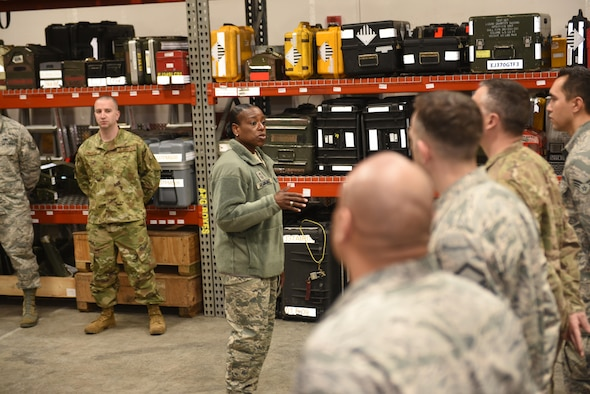 Chief Master Sgt. Rochelle Hemingway, the 28th Bomb Wing command chief, speaks to Airmen from the 28th Aircraft Maintenance Squadron at Ellsworth Air Force, S.D., March 26, 2019. Hemingway went to the 28th AMXS to meet with an outstanding performer. While there, she encouraged Airmen to continue to do great things. (U.S. Air Force photo by Senior Airman Michella Stowers)