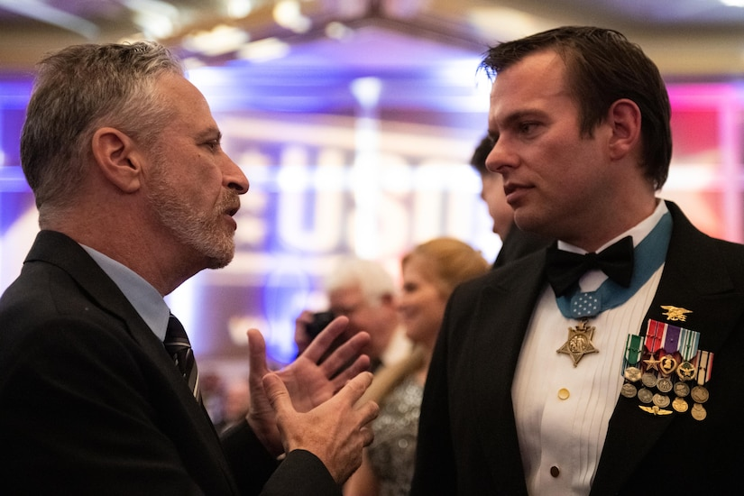 Jon Stewart speaks with Medal of Honor recipient
