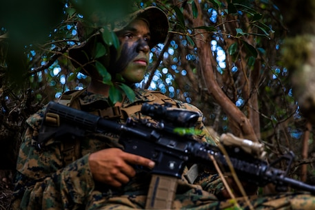 U.S. Marine Corps Pfc. Julian Gonzalez, rifleman with Echo Co., 2nd Battalion, 3rd Marine Regiment, takes cover on a re-supply patrol during exercise Bougainville I at Kahuku Training Area, Hawaii, March 20, 2019.