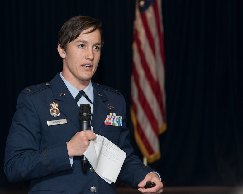 2nd Lt. Chelsey Hibsch, 374th Force Support Squadron officer in charge of logistics and supply, speaks during a Women's History Month luncheon at Yokota Air Base, Japan, March 26, 2019.