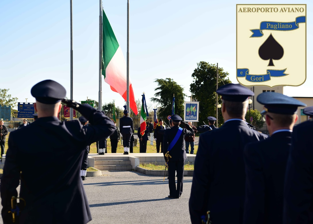 Italian Air Force service members celebrates the branch's 96th birthday in Aviano Air Base, Italy, March 28, 2019.