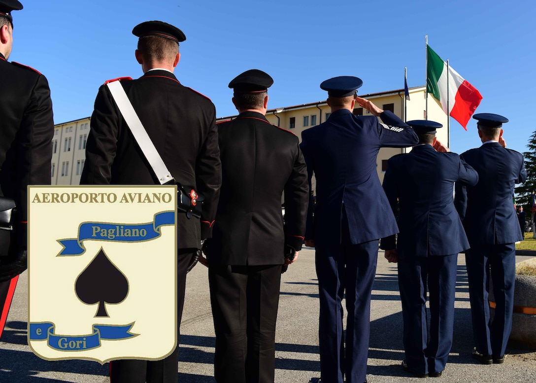 Italian Air Force service members celebrate the branch's 96th birthday in Aviano Air Base, Italy, March 28, 2019.