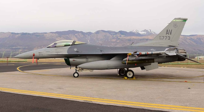 A U.S. Air Force F-16 Fighting Falcon from the 555th Fighter Squadron is on the flightline at Aviano Air Base, Italy, March 27, 2019.