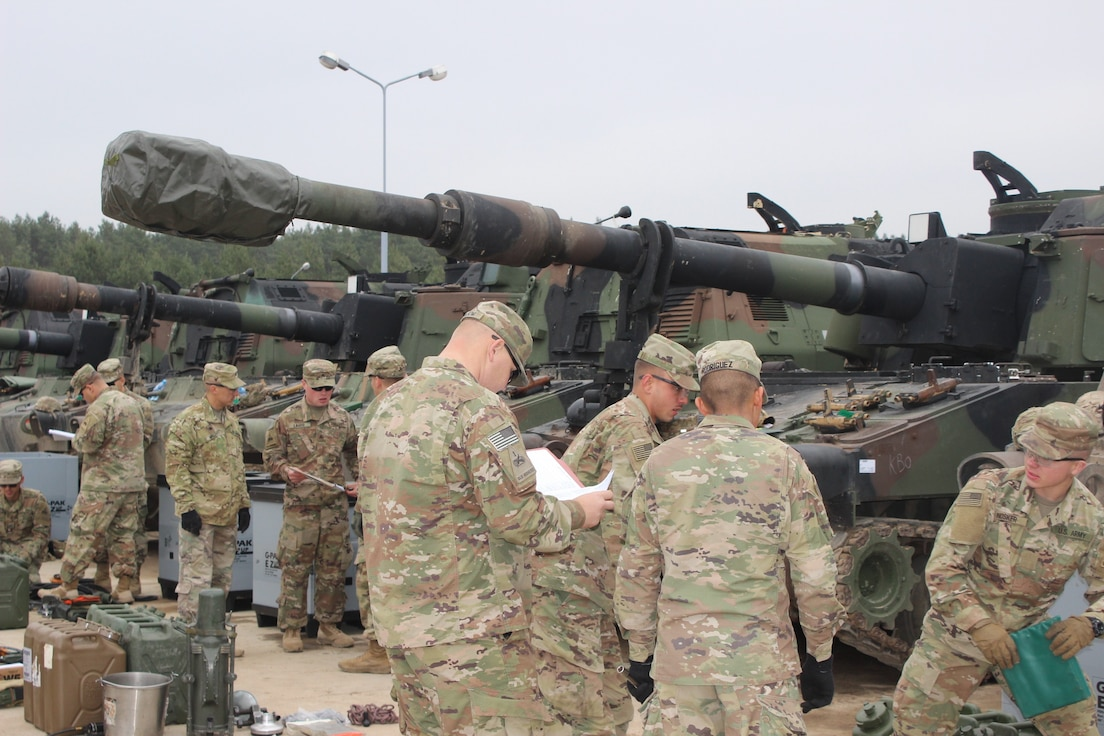 405th AFSB issues more than 700 pieces of armored Army Prepositioned Stocks 2 at DPTA, Poland, March 23.