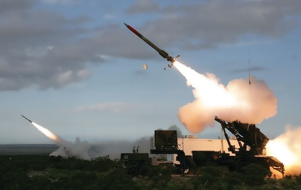 The Army test fires a Patriot missile in a recent test. The Patriot missile system is a ground-based, mobile missile defense interceptor deployed by the United States to detect, track and engage unmanned aerial vehicles, cruise missiles, and short-range and tactical ballistic missiles. Patriot, along with other missile defense systems, are included in the Army Air and Missile Defense 2028, which provides the Army's overarching vision for the AMD force, describes how the AMD force is postured to support the Army and joint forces, and articulates what must be accomplished to achieve the 2028 desired end state of preventing and defeating adversary air and missile attacks through a combination of deterrence, active and passive defense, and support to attack operations. (U.S. Army photo)