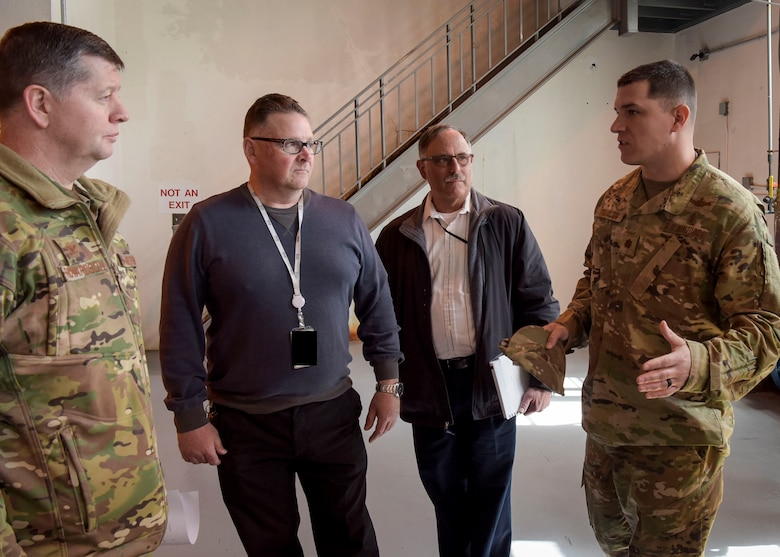 U.S. Air Force Maj. Alfred Traylor, 87th AMDS Bioenvironmental Engineering Flight commander, briefs U.S. Air Force Col. Neil R. Richardson, Joint Base McGuire-Dix-Lakehurst and 87th Air Base Wing commander, during a Water Production Plant tour, March 26, 2019 at Joint Base MDL, New Jersey. Traylor leads a 32-member team of professional engineers and technicians that apply engineering and scientific principles in anticipating, recognizing, and evaluating occupational and environmental health hazards for a base population of 45,000 people.
