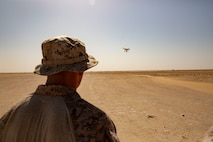 U.S. Marine Corps Cpl. Ryan George, a low altitude air defense gunner with 2nd Low Altitude Air Defense Battalion Counter-Unmanned Aerial Systems Detachment, attached to Special Purpose Marine Air-Ground Task Force Crisis Response-Central Command, pilots a drone-target during a C-UAS Marine Air Defense Integrated System Mine Resistant Ambush Protected Vehicle live-fire range in southwest Asia Feb. 17, 2019. By adapting from conventional aircraft defense systems to more non-conventional aerial threats, LAAD puts more Marines in the fight and enhances regional theatre security. SPMAGTF-CR-CC is specifically designed to be capable of deploying aviation, ground, and logistics forces forward at a moment's notice.