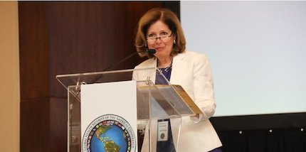 Ambassador Liliana Ayalde's speaks at the Global Health Security of the Americas Conference in Panama, March 26, 2019.
