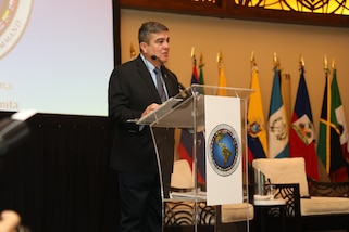 The Command Surgeon of U.S. Southern Command, Air Force Col. Guillermo J. Tellez, speaks during the Global Health Security of the Americas Conference in Panama, March 26, 2019.