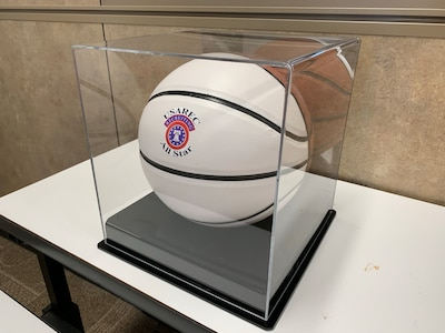 White basketball in a display case