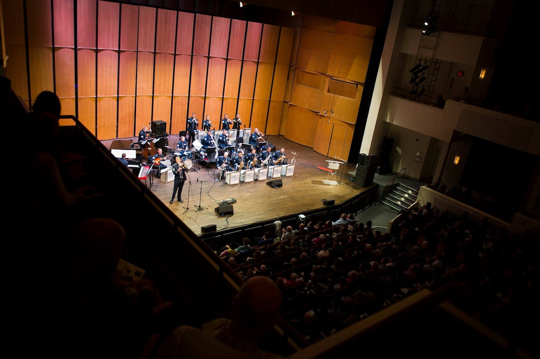 The U.S. Air Force Band's premier jazz ensemble, Airmen of Note, perform during a Jazz Heritage Series concert at the Rachel M. Schlesinger Concert Hall and Arts Center on the Northern Virginia Community College campus in Alexandria, Va., March 22, 2019. The Jazz Heritage Series concerts feature guest appearances by jazz legends. (U.S. Air Force photo by Master Sgt. Michael B. Keller)