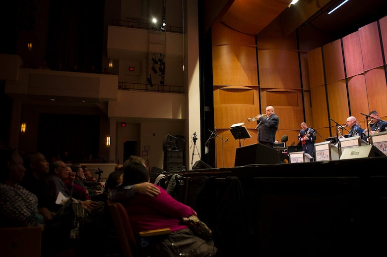 "Jazz trumpeter and composer Randy Brecker plays ""Some Skunk Funk"" during a performance with the U.S. Air Force Band's premier jazz ensemble, Airmen of Note, at the Rachel M. Schlesinger Concert Hall and Arts Center on the Northern Virginia Community College campus in Alexandria, Va., March 22, 2019. (U.S. Air Force photo by Master Sgt. Michael B. Keller)"