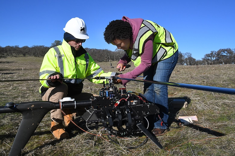 The U.S. Army Corps of Engineers Sacramento District supervises the use of an innovative drone system towing a magnetometer to search for munitions 14 miles east of Marysville on Jan 24, 2019.