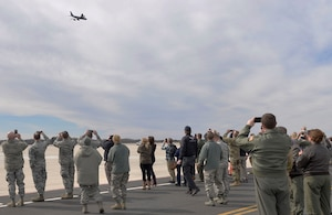 The last KC-135 Stratotanker assigned to the 157th Air Refueling Wing performs a flyover during a divestiture ceremony at Pease Air National Guard Base, N.H. March 24, 2019. The ceremony hornored the aircraft and Airmen who served together during thousands of missions. (U.S. Air National Guard photo by Senior Airman Taylor Queen)