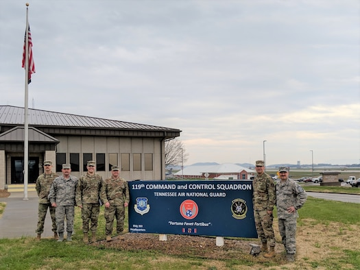 Maj. Gen. Robert Skinner, Air Forces Cyber command, and Chief Master Sgt. David Klink, AFCYBER command chief, pose with 119th Cyberspace Operations Squadron leaders during their March 25, 2019, visit to McGhee Tyson Air National Guard Base, Tennessee. The unit, formerly a command and control squadron, augments for the 624th Operations Center, which coordinates and directs the use of the Department of Defense's military cyber forces. (U.S. Air Force photo by Capt. Sean Guerrero)