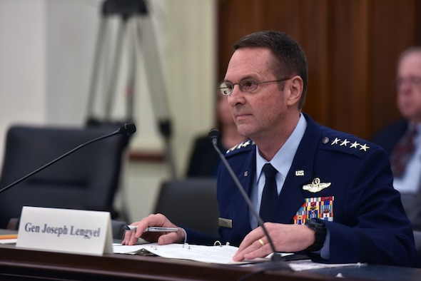 Air Force Gen. Joseph Lengyel, chief, National Guard Bureau, testifies to members of the House Appropriations Subcommittee on Defense, U.S. Capitol, Washington, D.C., March 26, 2019.