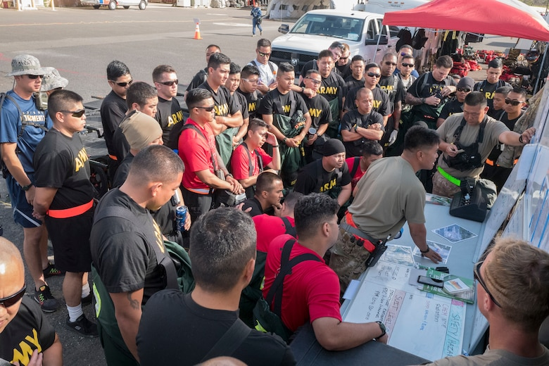 Search and extraction Airman and Soldiers from Hawaii's Chemical, Biological, Radiological, Nuclear, and High-Yield Explosive, Enhanced-Response-Force-Package Team (CERFP) conduct a briefing during an evaluation exercise March 9, 2019, at Kalaeloa, Hawaii.