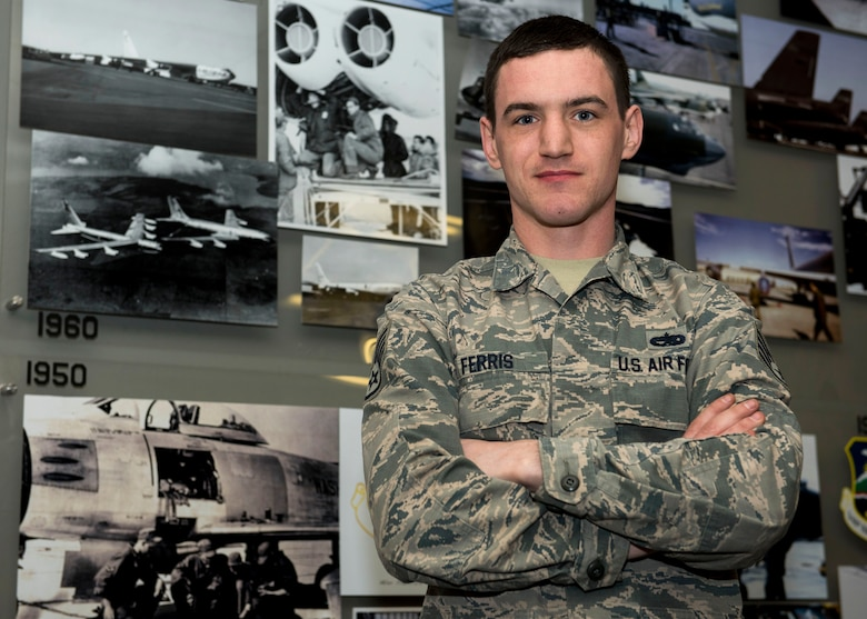U.S. Air Force Staff Sgt. Tyler Ferris, 92nd Maintenance Group Air Force Repair Enhancement Program technician, poses for a photo at Fairchild Air Force Base, Washington, March 20, 2019. Ferris received a meritorious award from the Spokane Fire Department for his quick actions in providing life-saving aid to a victim of a car accident. (U.S. Air Force photo by Airman 1st Class Lawrence Sena)