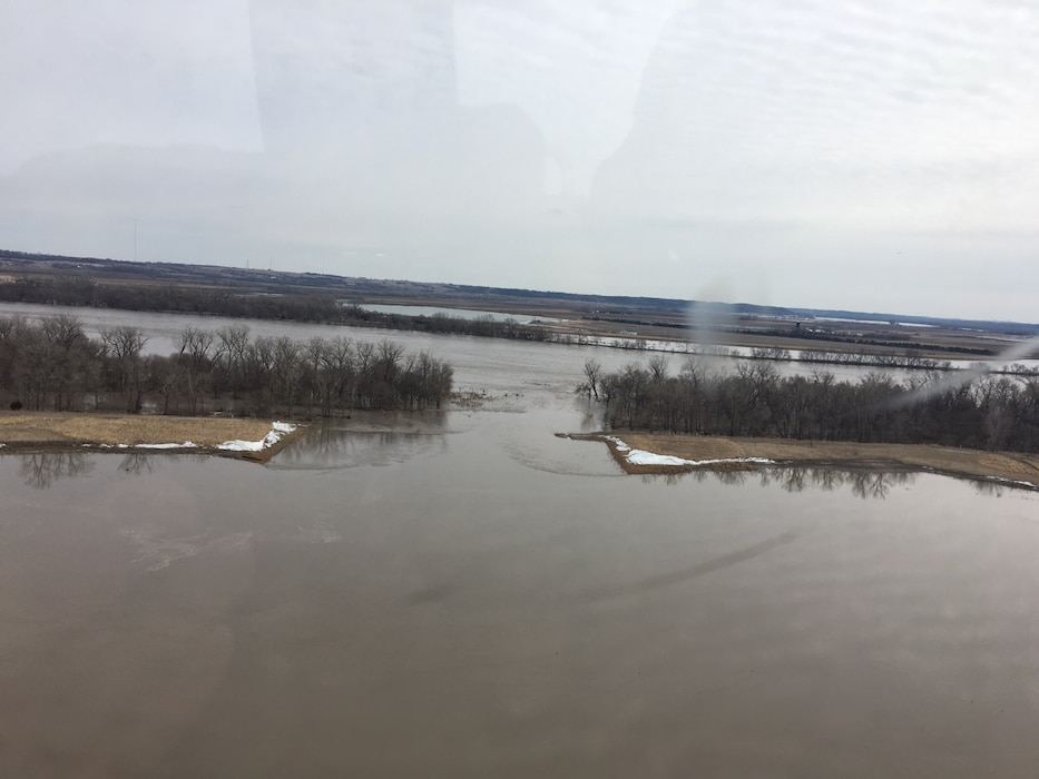 Photo documents the Clear Creek Levee breach resulting from the 2019 runoff event along the Missouri in Clear Creek, Nebraska March 22, 2019. (Photo by USACE, Omaha District)