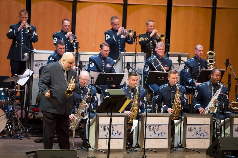 Jazz trumpeter and composer Randy Brecker performs with the U.S. Air Force Band's premier jazz ensemble, Airmen of Note, during a Jazz Heritage Series concert at the Rachel M. Schlesinger Concert Hall and Arts Center on the Northern Virginia Community College campus in Alexandria, Va., March 22, 2019. (U.S. Air Force photo by Master Sgt. Michael B. Keller)