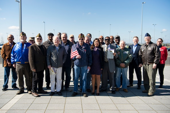 Spangdahlem Air Base leadership and veterans pose for a photo during the Vietnam War Veterans Commemoration at Spangdahlem Air Base, Germany, March 29, 2019. The ceremony was held to honor veterans and their families for their service and sacrifice. (U.S. Air Force photo by Airman 1st Class Valerie Seelye)