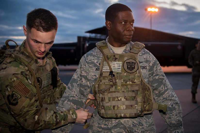 Col. Terrence Adams, 628th Air Base Wing commander, prepares to try out for the 628th Logistics Readiness Squadron fuels management flight forward area refueling point team March 26, 2019, at Joint Base Charleston, S.C.