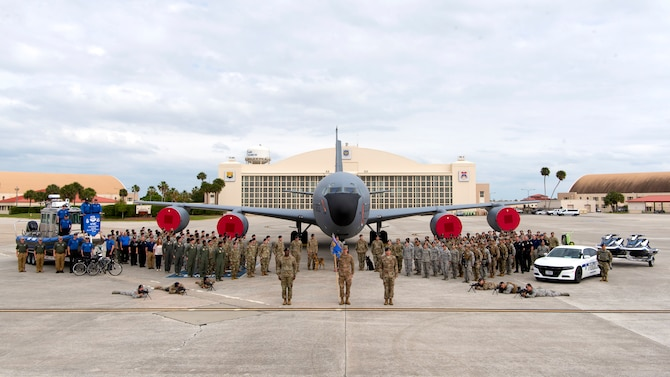 Members of the 6th Security Forces Squadron take a squadron photo in front of a KC-135 Stratotanker aircraft at MacDill Air Force Base, Fla., March 20, 2019. Security forces, the largest career field in the Air Force, is responsible for protecting and defending air bases around the globe.