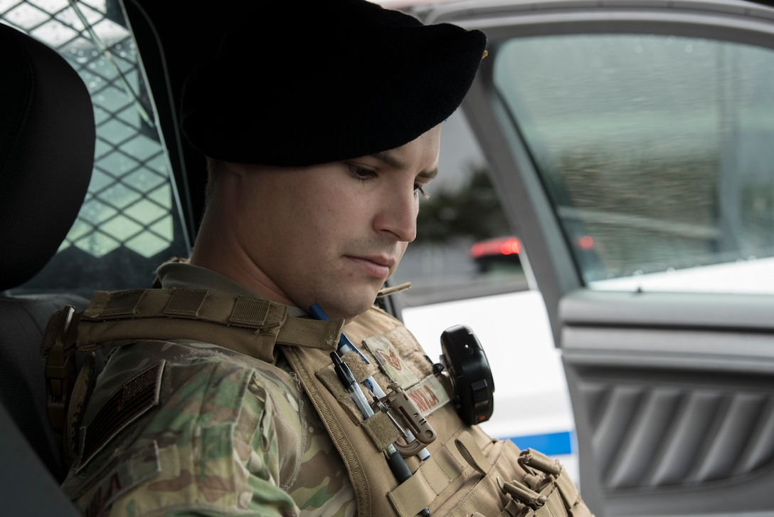 Staff Sgt. Kiley Davila, 45th Security Forces Squadron patrolman, performs his pre-check before a patrol at Patrick Air Force Base, Fla. on March 15, 2019.