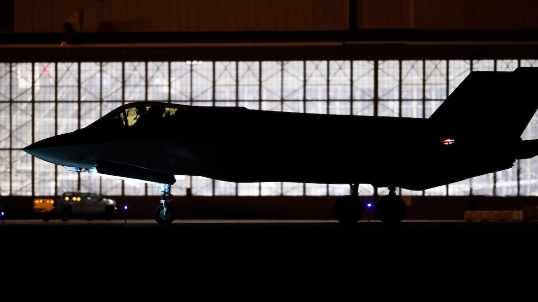An F-35A Lightning II taxis during night flying operations at Hill Air Force Base, Utah, March 26, 2019. Night flying is required for pilots to sharpen their combat skills and maintainers work around the clock to prepare jets for flight, inspect them after flight, and get them ready for the next flying day. The 388th Fighter Wing is the Air Force's first combat-coded F-35A wing. (U.S. Air Force photo by R. Nial Bradshaw)