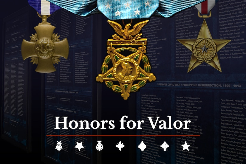"Three medals hang on a navy blue graphic with the words ""Honors for Valor"" on it."