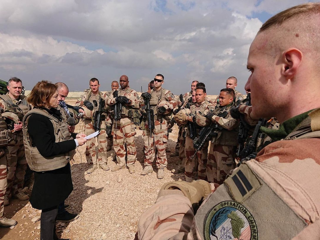 French Minister of the Armies, Florence Parly, speaks to members of the International Coalition following the recovery of formerly ISIS-held territory March 26, 2019.