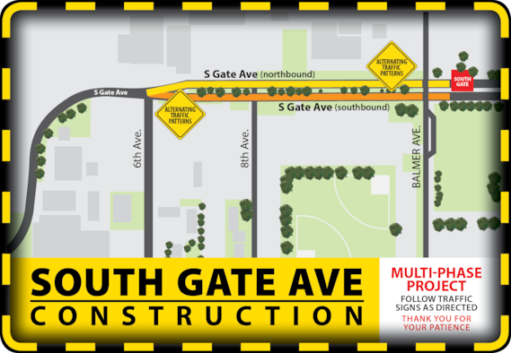 Construction crews will being April 15 on a paving project on South Gate Avenue that will affect traffic in and out of the South Gate.