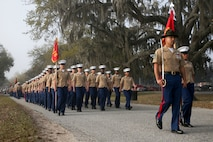 Marines with India Company, 3rd Recruit Training Battalion, graduated from recruit training at Marine Corps Recruit Depot Parris Island, March 29. India Company is the first combined company of male and female recruits to graduate from recruit training. (U.S. Marine Corps photo by Cpl. Vivien Alstad/Released)