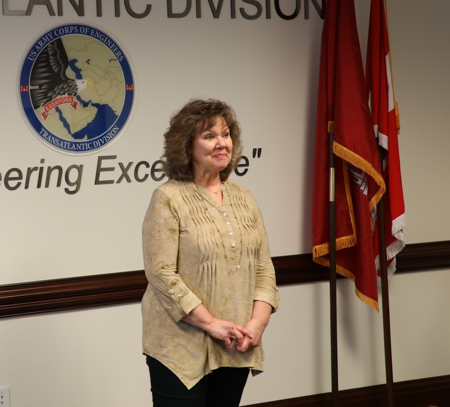 """Transatlantic Division employee Joan Kibler gives an emotional farewell speech on the occasion of her """"re-retirement"""" March 19, 2019, after 40 years in public service."""