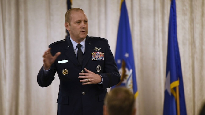 Brig. Gen. Doug Schiess, 45th Space Wing commander, spoke with community partners about current and future missions during the inaugural State of the Installation event at Patrick Air Force Base, Fla. on March 29, 2019.
