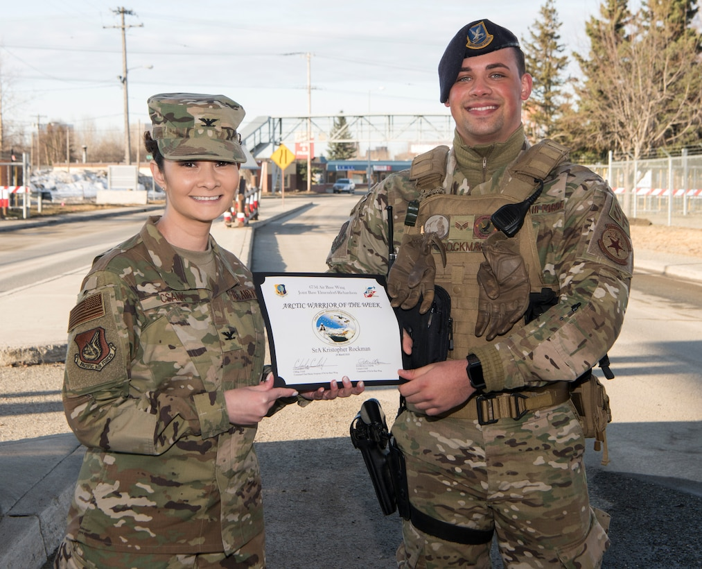 Kristopher Rockman, installation entry controller, is recognized as the Arctic Warrior of the Week at Joint Base Elmendorf-Richardson, Alaska, March 29, 2019. The Arctic Warrior of the Week is an award highlighting JBER's top performing Airmen.