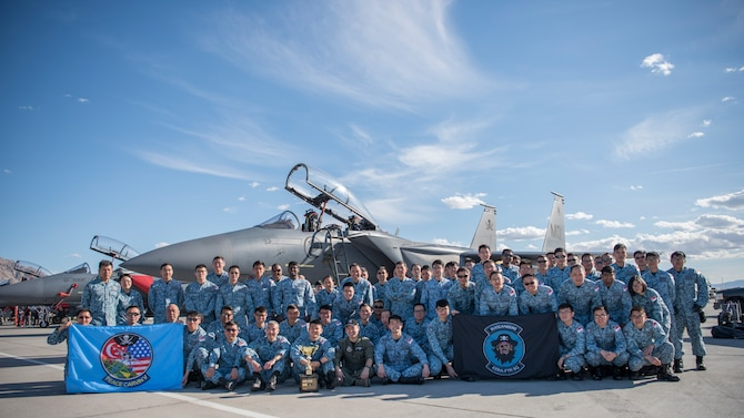 Airmen from the 428th Fighter Squadron win Red Flag Outstanding Unit March 22, 2019, at Nellis Air Force Base. Red flag is the world's premiere air-to-air combat training exercise. (Proprietary information redacted) (U.S. Photo by Airman First Class Andrew Kobialka)