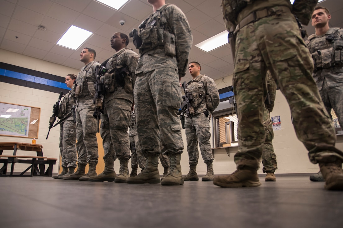 45th Security Forces Squadron Airmen get assignments during their guardmount briefing at Patrick Air Force Base, Fla. on March 15, 2019. Air Force Chief of Staff Gen. David Goldfein directed the Year of the Defender initiative to the Security Forces career field to aid Airmen with training and strengthen installation security across the Air Force. (U.S. Air Force photo by Tech. Sgt. Andrew Satran)