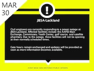 Civil engineers are currently responding to a power outage at JBSA-Lackland. Affected facilities include the AAFES Main Exchange, Commissary, Youth Center, golf course, and satellite pharmacy. Due to the outage, these facilities will not be opening at their normally scheduled times. 
