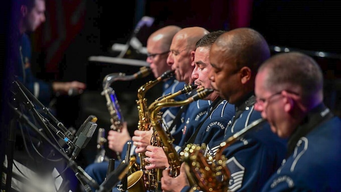 The saxophone section of the Airmen of Note during a recent performance (U.S. Air Force Photo by CMSgt Bob Kamholz/released).
