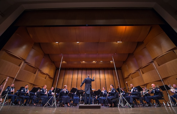 Col. Don Schofield, commander and conductor of The United States Air Force Band, conducts the Concert Band during the Band's 2019 Guest Artist Series featuring world-renowned trumpeter, Allen Vizzutti. The concert took place on Jan. 24, 2019, at the Rachel M. Schlesinger Concert Hall and Arts Center in Alexandria, Va. (U.S. Air Force photo by Chief Master Sgt. Kevin Burns)