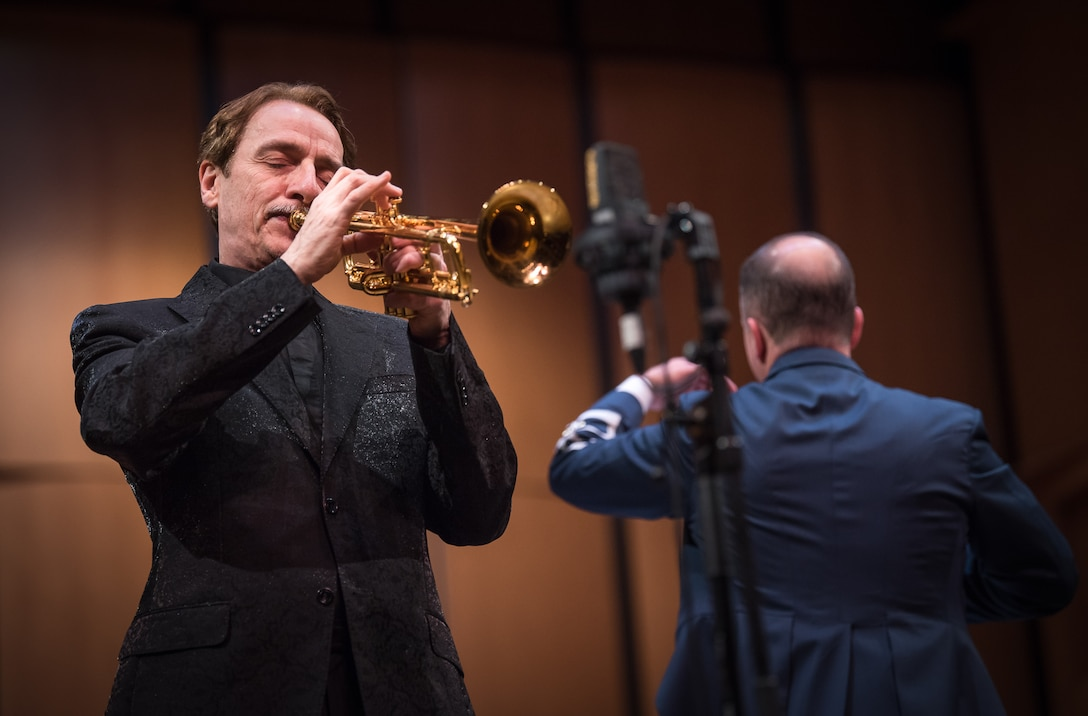 World-renowned trumpeter, Allen Vizzutti, performs on The United States Air Force Band's 2019 Guest Artist Series. The concert took place on Jan. 24, 2019, at the Rachel M. Schlesinger Concert Hall and Arts Center in Alexandria, Va. (U.S. Air Force photo by Chief Master Sgt. Kevin Burns)