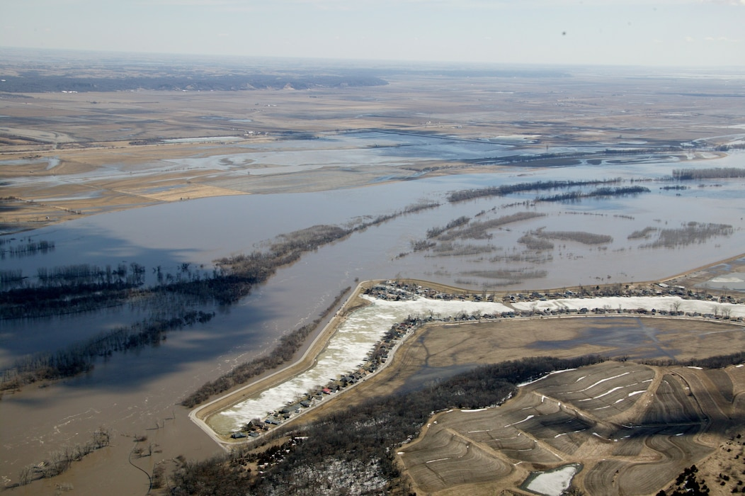Photo documents an aerial view of the levee at Lake Waconda near Mitchell County, Kansas Mar. 16, 2019, resulting from a major runoff event. (Photo by USACE, Omaha District)
