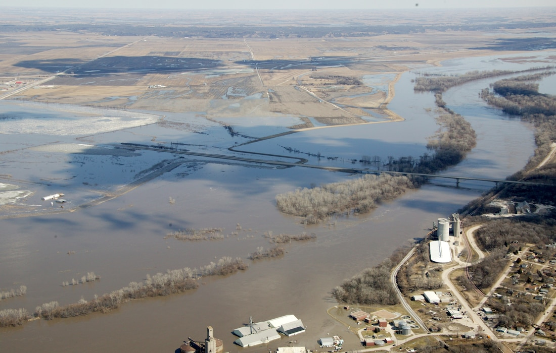Photo documents aerial view of overtopping levee L575 near Nebraska City, Iowa Mar. 16, 2019, resulting from a major runoff event. (Photo by USACE, Omaha District)