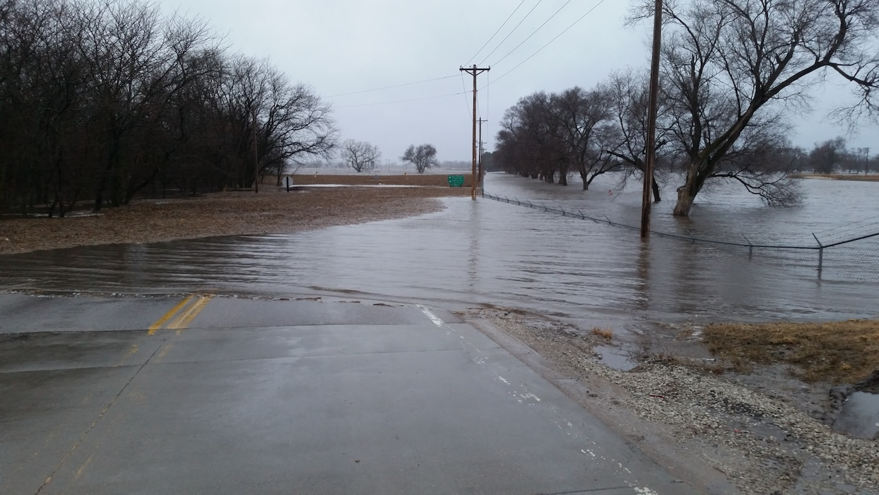Photo documents overtopping of Western Sarpy levee in Western Sarpy, Nebraska Mar. 14, 2019, resulting from major runoff event earlier in month. (Photo by USACE, Omaha District)