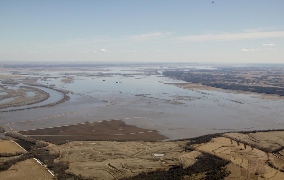 Photo documents an aerial view of levee R562 breach near Nemaha County, Nebraska Mar. 16, 2019.